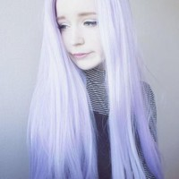 PURPLE MIX WHITE LONG STRAIGHT SYNTHETIC LACE FRONT WIG