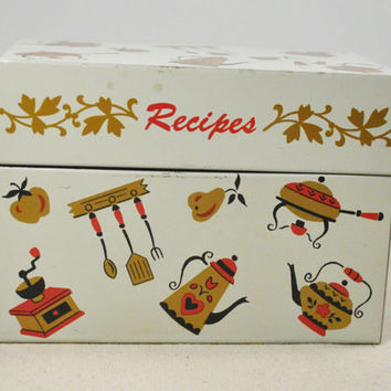 Vintage Metal Recipe Box Art Tin Litho Box Colorful Art Deco Retro Mid Century Kitchen Decor