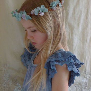 Cloudia Flower Crown... Free Size... wedding whimsical bride flower girl bridesmaid boho woodland fairy free people country tea party