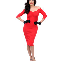Red Off The Shoulder Three-Quarter Sleeve Fitted Knit Wiggle Dress