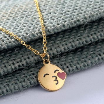 QIAMNI Cartoon Smiley Kiss Love Heart Pendant Necklace Cute Face Expression Emoji Necklace for Women Girls Valentine's Day Gift