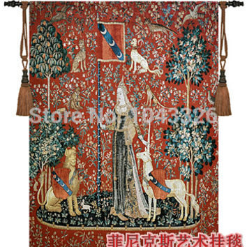 home textile decoration unicorn sense of touch Belgium medieval tapestry wall hanging 140cm x 107cm pt-67