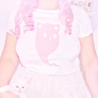 Kitty Ghost T-Shirt - Creepy Cute Kawaii Tee Top Kitten Ears Spooky Halloween Ghosts Pink & White Yume Japanese Harajuku Play Fashion Style