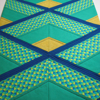 Quilted Table Runner , Modern Table Runner , Blue and Green Diamonds