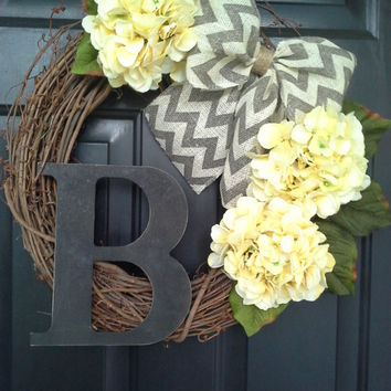 Front door wreath, door wreath, spring wreath, hydrangea wreath, yellow wreath, monogram wreath, grapevine, french country, burlap wreath