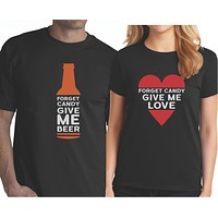 Funny Halloween Couple Shirts - Forget Candy Give Me Beer and Love