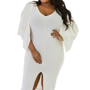 Adogirl Plus Sizes 2XL 3XL Women Fashion Style Cascading Ruffles Evening Party Dresses 2018 Spring Sexy Mid Calf Bodycon Dresses
