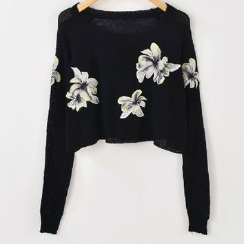 SAME DAY SHIPPING! New Fall 2013 Knitted Embroidered Crop Top