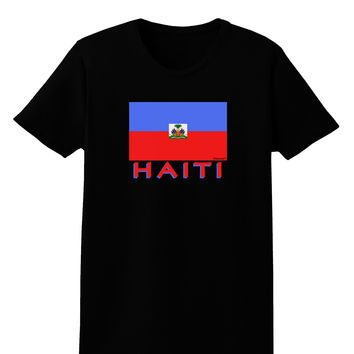Haiti Flag Dark Womens Dark T-Shirt