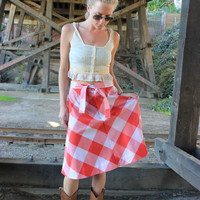 Levi's 1970s Vintage Gingham Skirt Red and White Size Small Medium