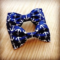 Nautical Anchor blue white print handmade fabric hair bow from Bowlicious Divas Bowtique