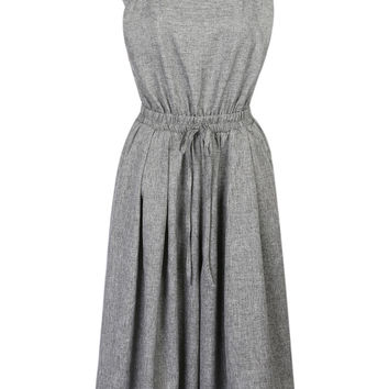 Gray Square Neck Open Back Pleated Crop Wide Leg Jumpsuit
