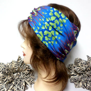 Blue, Rust & Lime Green Headwrap, Yoga Headband, Wide Headband, Running Headband, Workout Headband, Turban Headband, boho, scarf, wrap