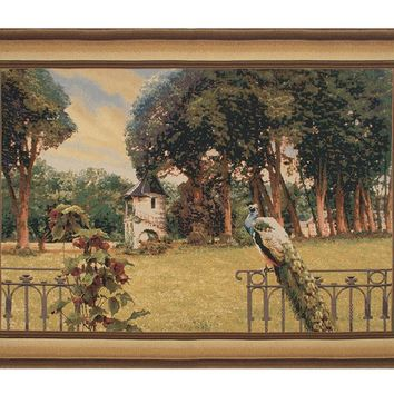 Peacock Manor with Frame Border Belgian Tapestry Wall Art