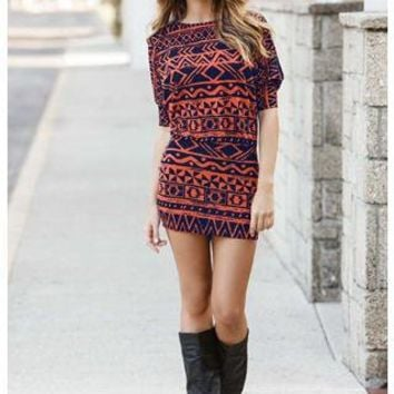 COLD SHOULDER AZTEC TUNIC DRESS