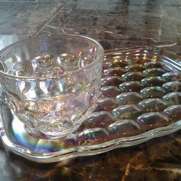 4 piece Set Federal Glass Yorktown Iridescent Snack Plate and Cup Set Iridescent Rainbow Glass Shabby Chic Cottage Style Tea Set