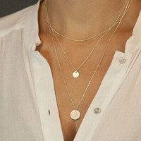 Celebrity Inspired Gold Circle Pendant Three Layer Necklace