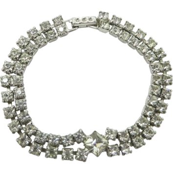 Kramer Double Row Clear Rhinestone Tennis Bracelet