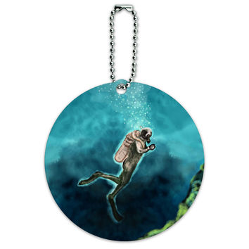 Scuba Diver Blue Ocean Diving Round ID Card Luggage Tag