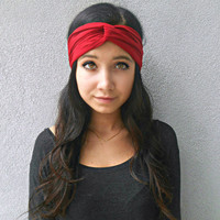Red Turban Headband  Jersey Headband Hippie Headband Bohemian Women's Hair Accessories
