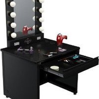 "Amazon.com: Broadway Lighted Vanity Desk 36'' x 30"" - Black Frame, Black Surface: Home & Kitchen"