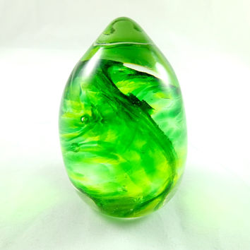 Handmade Art Glass Mixed Greens Easter Egg Paperweight