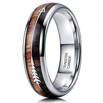 CERTIFIED 6mm Tungsten Koa Wood Zebra Wood Arrows Inlay Vikings Hunting Ring