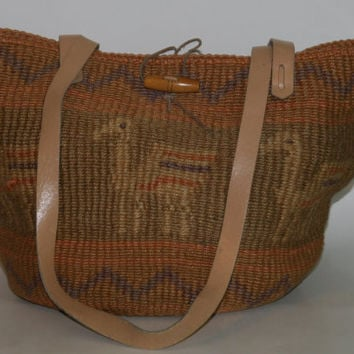 70s woven Jute sisal market bag tote purse ethnic southwest leather boho grunge hippie festival hobo woven basket 80s 90s home decor storage