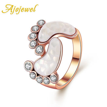 Ajojewel Lovely Style Rose Gold Plated Color Clear Crystal Shell Baby Foot Rings For Women Size 6-9