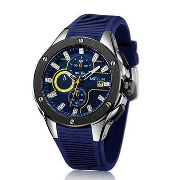 Fancied MEGIR Quartz Watches - Top Quality Chronograph Functions Sport Watch Waterproof Blue Silicone Rubber Strap Wristswatch Clock For Mens by Ritzy