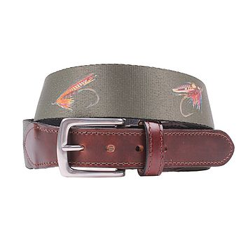 Hampton Belt in Olive with Fishing Flies by Country Club Prep