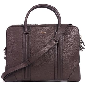Givenchy Brown Taurillon Leather Double Rolled Handles Briefcase