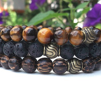 Mens Set of 3 Stone Bracelets, Mens Tiger Eye, Men's Lava Rock, Men's Wood Bracelet, Men's Bracelet, Men's Gemstone Bracelet, Gift for Him