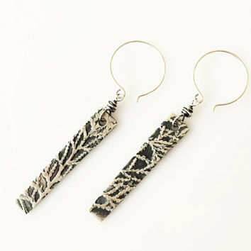 Artisan Bar Earrings with Arborvitae Pattern, PMC Fine Silver Long Earrings with Heavy Oxidation, Thuja Leaf Pattern with 925 Sterling