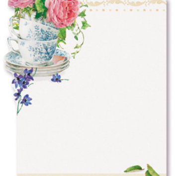 Tea and Rose Garden Sticky Notes Pad