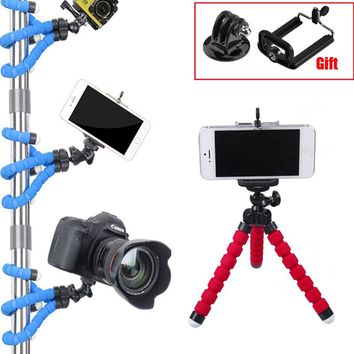 Gopro Accessories Mini Tripod Portable Flexible Spong Selfie Stick Tripods + Phone Holder Adapter for Go Pro SJCAM Yi 4K Camera