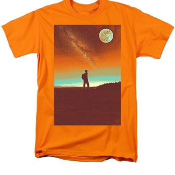 The Milky Way, The Blood Moon And The Explorer Poster By Adam Asar 4 - Men's T-Shirt  (Regular Fit)