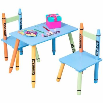 3 Piece Crayon Kids Table & Chairs Set