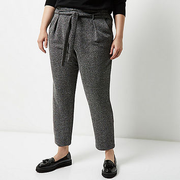 RI Plus dark grey soft tie tapered pants - tapered pants - pants - women