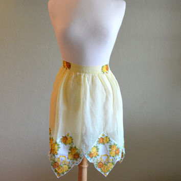Vintage Yellow Hostess Apron, Handkerchief Hem, Yellow Roses, Hand Made, Sheer Half Apron, circa 1950s-1960s