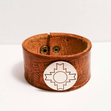 Cowgirl bracelet leather cuff Indian tribal native American country style child kids jewelry 7""