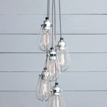 Wire Cage Chandelier - 5 Light Cluster