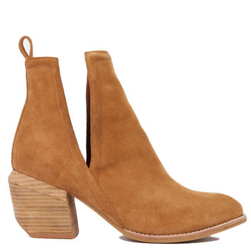 Jeffrey Campbell Orwell 2 Open-Side Ankle Camel Suede Booties
