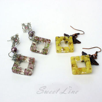 Resin Jewelry Earrings With Real Flowers Rustic Square Hook or Stud Dangle Earrings Natural Flower Jewelry Yellow or Violet Colors Statement