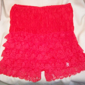 Vintage 50s 60s Red Lace Ruffled Dance Panties / Ruthad Of Detroit / Rockabilly Pin Up Girl Burlesque Dancer Underware Undies