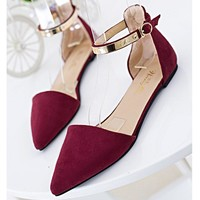 Pointed Toe Metal Buckle Flat Casual Mary Jane