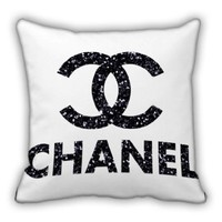 Chanel Glitter Logo Throw Pillow Cover