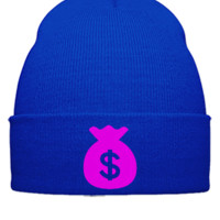money bag Embroidery - Beanie Cuffed Knit Cap