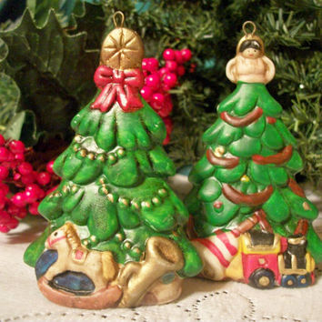 Christmas Tree Ornaments Two Hand Painted Ceramic Toy Scene Angel and Star Figurines Vintage Holiday Home Decor