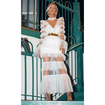 Dream Life White Sheer Mesh Tiered Ruffle Collar V Neck Long Flare Sleeve Sheer Maxi Gown Dress